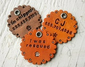 Custom Leather Dog Tag - Personalized Pet name and phone number - custom hand carved - cat dog pig ferret