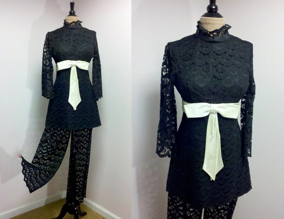 Vintage 1960s Lace Dress Lace Pants / 60s Gene Stanley / Black Lace Dress / Lace Pants Set / S M