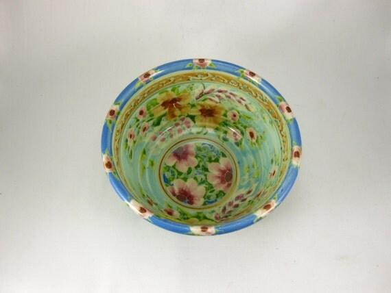 """Light blue 5"""" handmade porcelain bowl"""