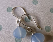 RESERVED FOR STEFANIE - earrings - blue chalcedony stone briolettes,  sterling silver wires, simple jewelry