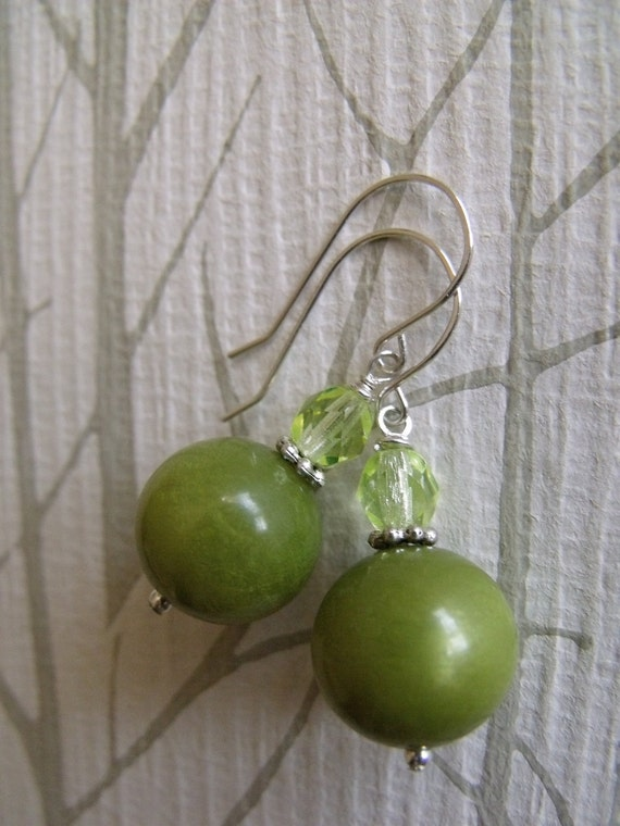 earrings with vintage lucite beads,  sterling siver accents and wires