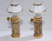 Handmade Kerosene-Hurricane Lamps with White Shades, Three Quarter to One Inch Scale Dollhouse