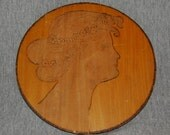 Vintage,  ANTIQUE VICTORIAN PLAQUE, Classic Wood Burning of a   Victorian Lady's Head