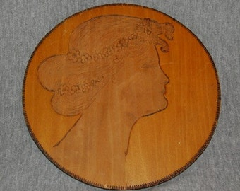 REDUCED Vintage,  Antique VICTORIAN PLAQUE, Classic Wood Burning of a   Victorian Lady's Head