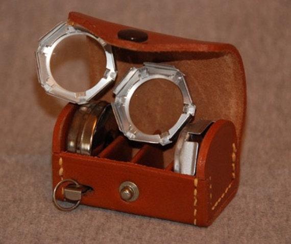 SALE....Vintage Polaroid Lenses in Leather Case circa 1960s