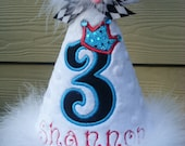 Custom Party Hats..QUEEN in BLUE... any color...any theme...Birthday hat...dress up... Princess hat