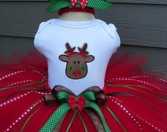 Custom Tutus...RUDOLPH and RIBBONS DESIGN...sizes 3,6,9,12,18,24 months and 2T,3T,4T,5T,6T years,photos, birthday, christmas gift