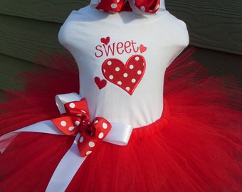 Custom Tutus...SWEET HEART  tutu set,Valentine, size... 3,6,9,12,18,24 months and 2T,3T,4T,5T,6T years,costume, birthday