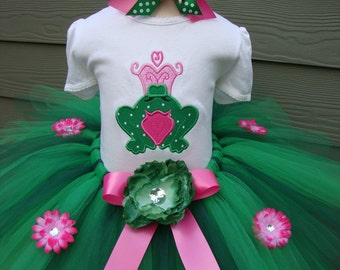 Custom Tutus...FROG PRINCESS , choose your headpeice...3,6,9,12,18,24 months and 2T,3T,4T,5T,6T years,costume, birthday, dress up