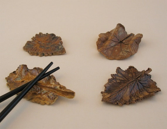 Leaf Chopstick Rests - Set of 4 - Made with Real Leaves