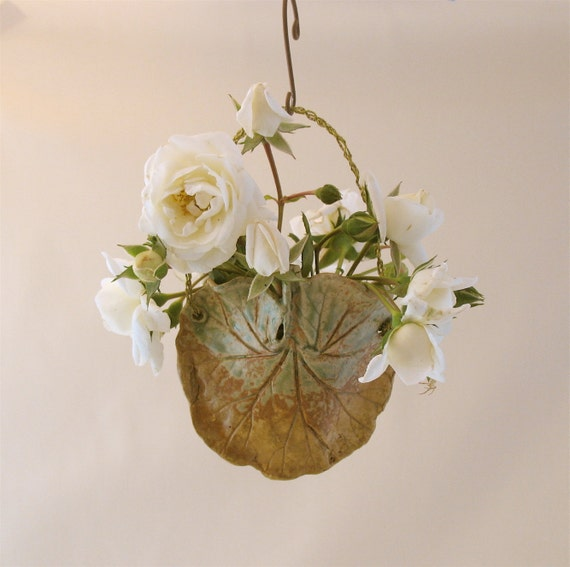 Clay Two Sided Leaf Wall Pocket - Small - 2 Real Geranium Leaves - Plant Holder or Dried Flowers