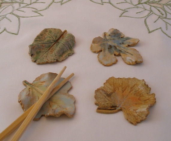 Leaf Chopstick Rests - Set of 4 - Made with Real Leaves, Look of Soft Watercolors