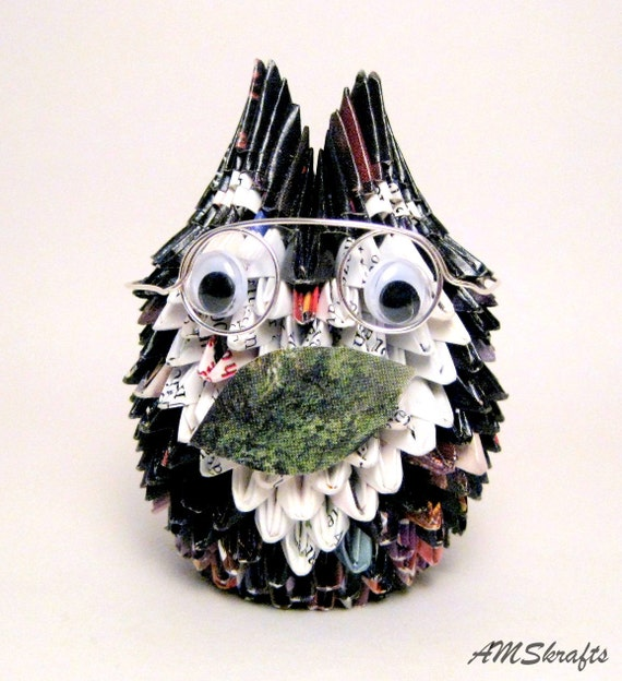 Origami Granny Owl Sculpture with Round Glasses