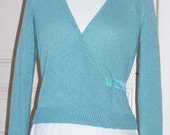 Something Blue - elegant ballerina wrap sweater. Perfect for weddings and special occasions