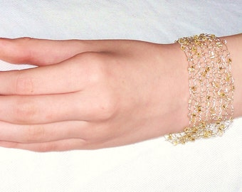 Beaded bracelet - champagne