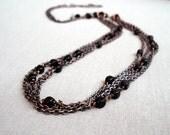 Copper multi stranded chain black cubes long necklace elegant rustic handmade