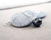 Silver chain necklace hematite stone single pendant minimalist elegant handmade