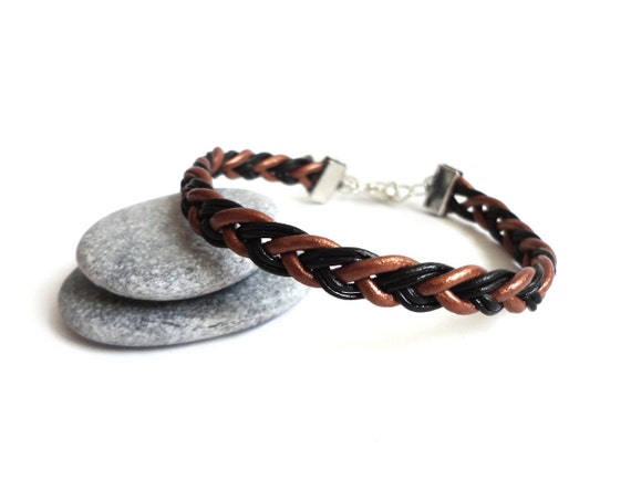 Braided black copper leather bracelet unisex men women cuff