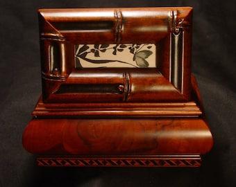 Handmade Bamboo Motif Jewelry Box w Japanese Poem