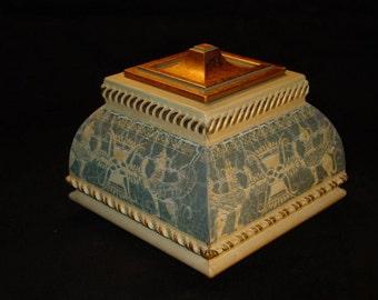 Handmade Single Layer Jewelry Box w Griffin Motif