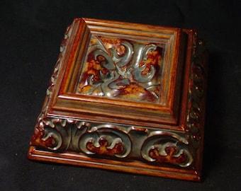 Handmade Single Teal Wash Jewelry Box