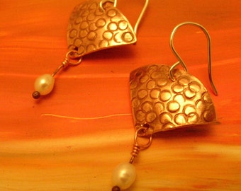 Textured Copper Earrings with White Pearls