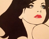 Painting, Woman Red Lips & Blue Eyes on Canvas
