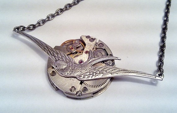 Flying Bird Watch Movement Necklace (Steampunk Jewelry by Steam Designs)