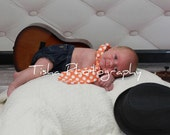 Boys Necktie Tie - Michael Miller Orange Ta Dot - Sizes Newborn to 5T - Photography Prop - Family Pictures