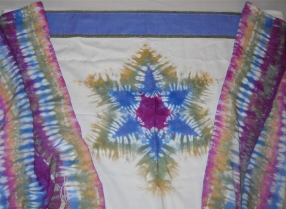 "Blue/Orchid/Sage/Gold Magen David Hand-dyed Rayon Challis Tallit.  22"" x 72"""