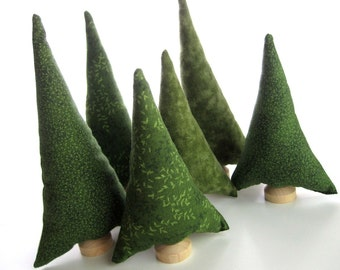 Evergreen Tiny Forest - 6 Natural Pine Plush Toy Fabric Christmas Trees