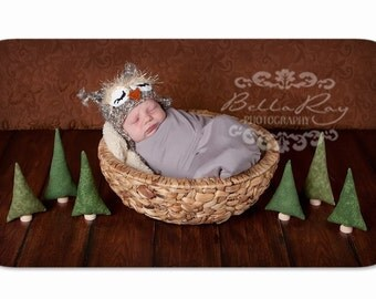 Photo Prop Evergreen Trees - Tiny Forest of 6 green pine fabric trees for newborn photography