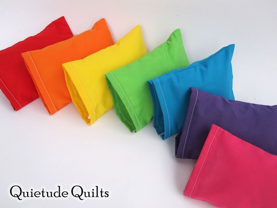 Seven Rainbow Doll Pillows - 14-piece miniature pillowcases and pillows doll bed linens for newborn photography props or American Girl dolls