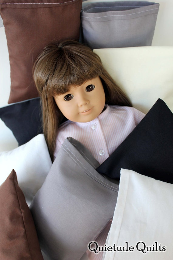 American Girl Doll Pillow - Custom Color One Neutrals Doll Pillow for 18 inch doll bedding or doll bed