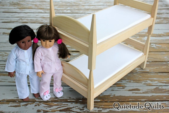 American Girl Doll Bunk Beds - 18 inch doll beds STACKABLE with mattresses and fitted sheets for American Girl, Bitty Twins