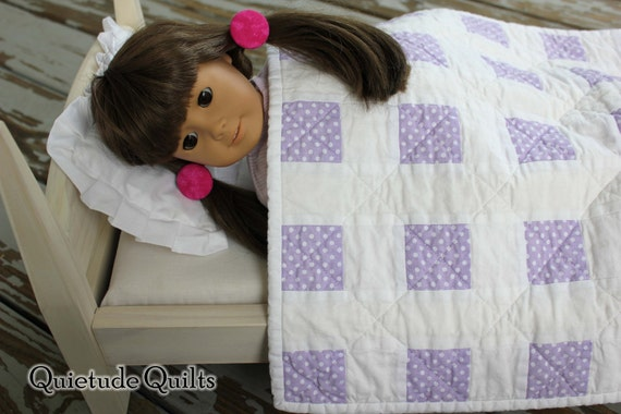 Purple Lattice Quilt American Girl Doll Bedding - Patchwork Doll Quilt, American Girl Quilt