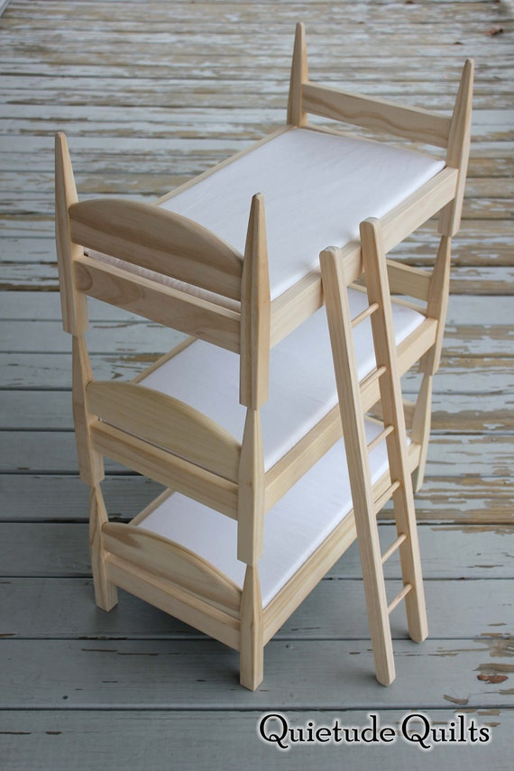 Doll Triple Bunk Beds With Ladder Stackable 18 By