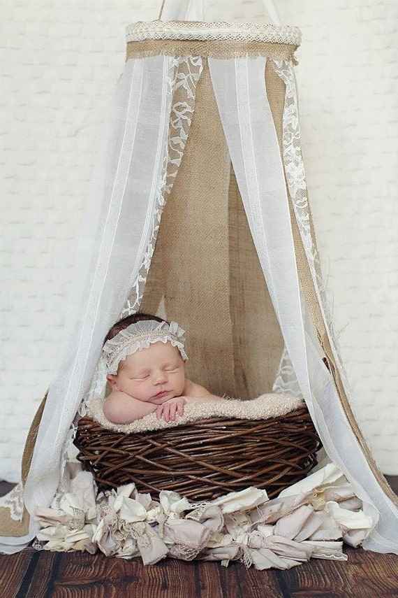 Newborn Canopy - Burlap and Lace Newborn Canopy, Hanging Fabric Canopy Prop