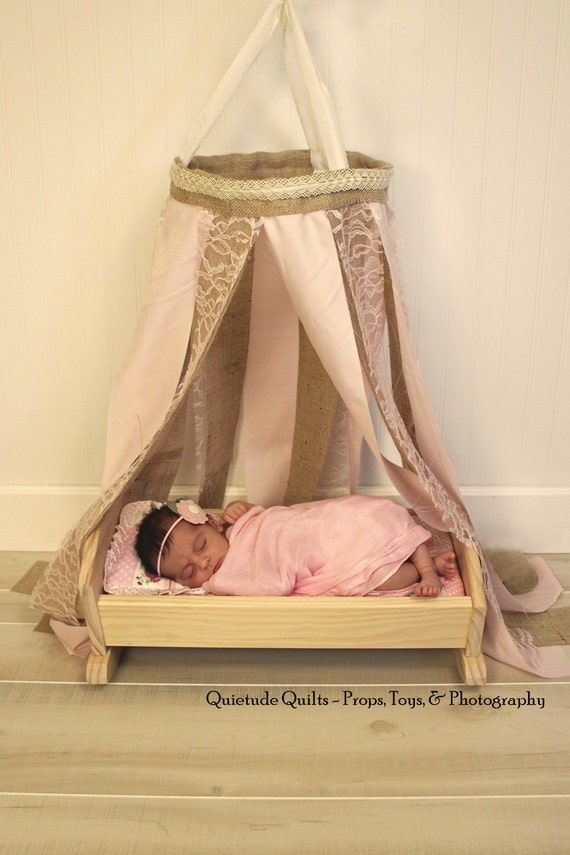 SALE - Pale Pink Newborn Canopy - Burlap and Lace Baby Prop Canopy