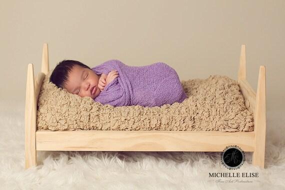 Wooden Newborn Bed with white mattress - Newborn Photo Prop, Photography Props