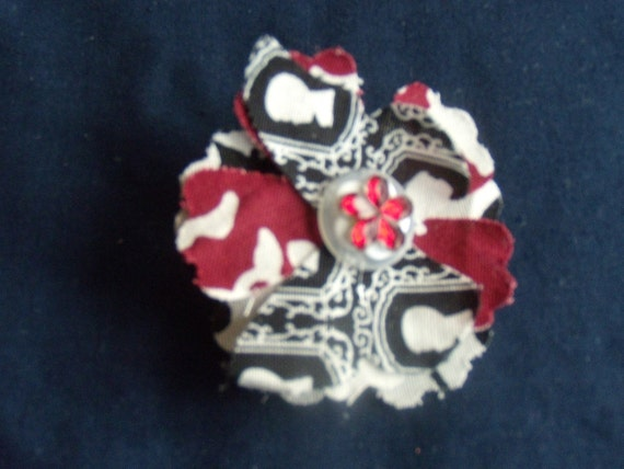 Shabby Butterfly Brooch Fabric Flowers and Bling