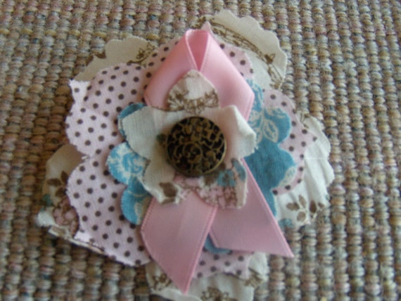Pink Shabby Brooch with Polka Dots
