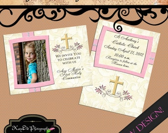 INSTANT DOWNLOAD First Communion Ava Vertical/ Horizontal  5x7 Announcement/Invitation Template/PSD file
