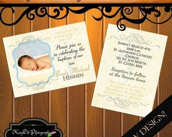 INSTANT DOWNLOAD Baptism Blue Vertical/ Horizontal  5x7 Announcement/Invitation Template/PSD file