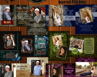 """INSTANT DOWNLOAD Express Yourself""""  Value  Set of 6   2-sided 5x7  Senior Graduation Announcement Templates/PSD files"""