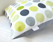 Accent Throw Pillow Cover - Geometric in Grays, Yellows, Green and Black on White