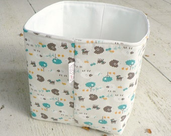 Little Lamb in Charcoal, Teal and Marigold on Natural Fabric Basket