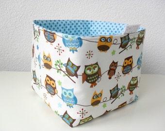 Owl Fabric Basket in Cream