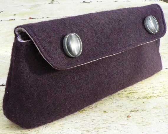 Deep Purple Cluch in Felted Wool with Vintage Buttons Detail