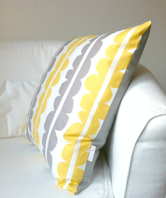Items similar to Throw Pillow Cover - Scandinavian Stones in Gray and Yellow on Etsy